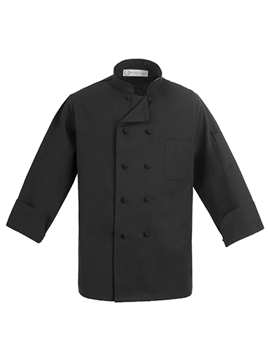Black Chef Coat with Cloth Knots